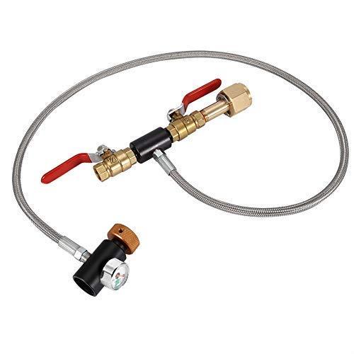 G1/2 CO2 Adapter Zum Nachfüllen Zylinder Nachfüll-adapter mit Schlauch zum Befüllen von Tank Soda Maker Direktadapter für Soda auf externe(With pressure gauge 36 inches)
