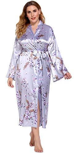 Kimono Larga Mujer Cárdigan Primavera Verano Tamaño Grande Vestido de Dormir Robe Camisón Estampado de Seda para Baño Ocio Pijamas Mujer Bata Daily Flores Vestido de Hogar