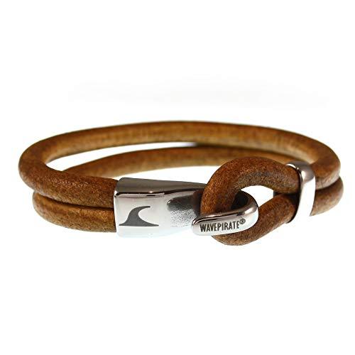 WAVEPIRATE® Echt Leder-Armband Peak R Cognac 23 cm Edelstahl-Verschluss in Geschenk-Box Surfer Herren Männer