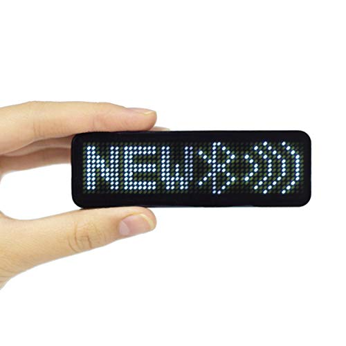VBLab Upgraded Wireless Bluetooth LED Name Badge Rechargeable Name Tag (White, 1 Pack)