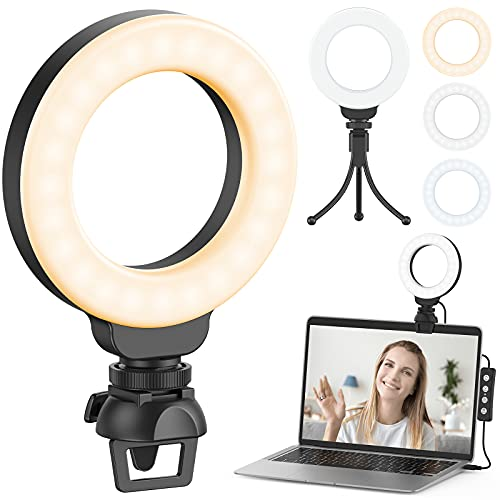 Ring Light for Laptop Computer, Ruyilam Video Conference Lighting Kit with Clip and Tripod, Desktop PC Selfie Dimmable Light with Stand Ring Light for Live Streaming, Video Recording, Makeup