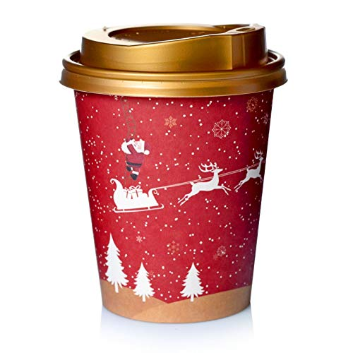 PaLi Adventskalender DIY zum befüllen 24 Coffee-to-go-Becher im Weihnachtsdesign mit goldenem Deckel und 24 Sticker