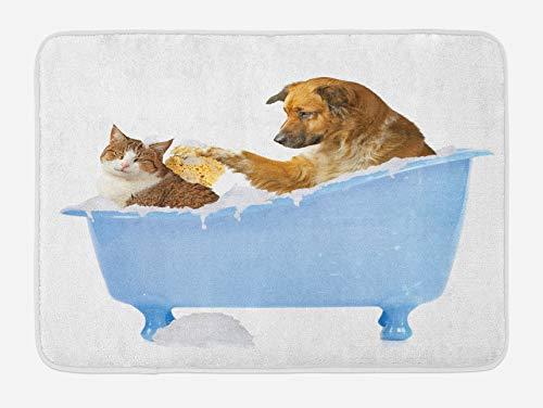 Alfombra de baño para Gatos, Perro Gatito en la bañera, Juntos, Burbujas, champú con Estampado Divertido de Ducha, Felpa para decoración de baño con Respaldo Antideslizante, Azul Hielo
