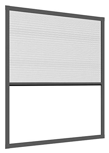 Windhager Expert Plissee Fenster Ultra Flat, Insektenschutz für Fenster, Fliegengitter, Mosquitoschutz, individuell kürzbar, 100 x 120 cm, anthrazit, 03243