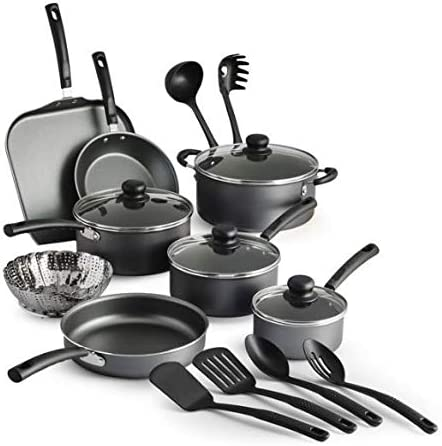 COLIBYOU 18 Piece Nonstick Pots Pans Cookware Set Kitchen Kitchenware Cooking NEW GRAY product image