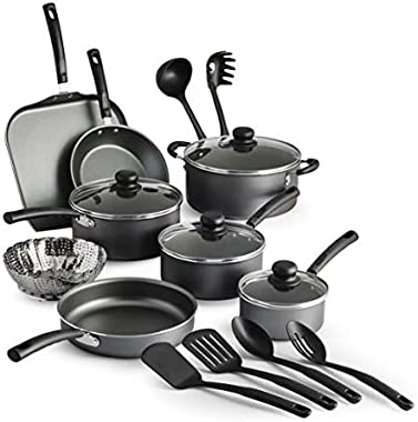 COLIBYOU 18 Piece Nonstick Pots & Pans Cookware Set Kitchen Kitchenware Cooking NEW (GRAY)