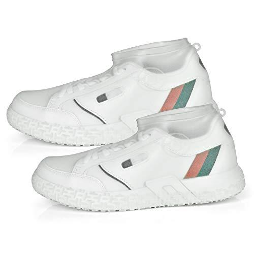 Ulikey Wodoodporne buty ochronne, silikonowe ochraniacze przeciwdeszczowe, wielokrotnego użytku, antypoślizgowe, na deszcz, śnieg, plażę, błoto (białe, L)