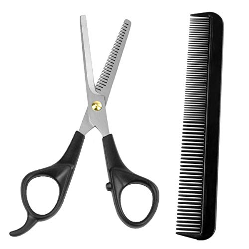 AUMELO Hair Thinning Scissors Cutting Teeth Shears with Hair Comb - Professional Barber Hairdressing Texturizing Salon Razor Edge Scissor Stainless Steel with Non-slip Handle 6.5 inch