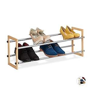 Relaxdays Zapatero Extensible, Estantería Zapatos, Organizador de 2 Estantes, Madera-Hierro, 1 Ud, hasta 118 cm, Marrón