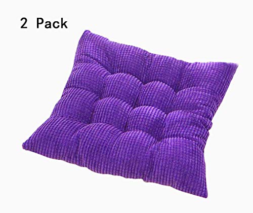 Solid Kitchen Chair Cushions Papasan Patio Seat Cushion Square Reversible Dining Chair Pads with Ties Couch Pad Set of 2 Indoor/Outdoor 15 Inch Purple