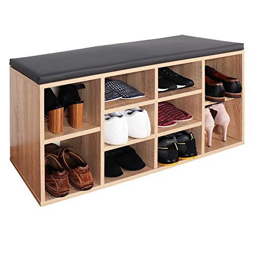 RICOO WM033-ES-A Schuhregal 104x49x30 cm Holz Eiche Sonoma Sitzbank mit Stauraum Schuhschrank mit Sitzkissen Schuhbank für Flur Schuhablage