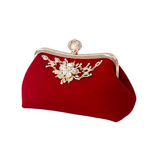 Umhängetasche Damen Clutch Frauen Party Hochzeit Clutch Geldbörse Strass Abend Prom Ballkette Wallet Red