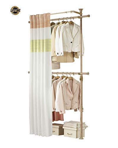 PRINCE HANGER, Premium Wood Colored 2 Tier Hanger with Curtain, Clothing Rack, Closet Organizer, Free Standing, Garment Rack, PHUS-0063, Made in Korea