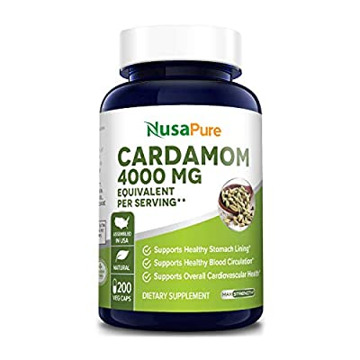 Cardamom Extract 4000mg 200 Vegetarian Capsules (Non-GMO & Gluten Free) Helps Reduce Blood Pressure & Lower Blood Sugar Levels - Help with Digestive Problems