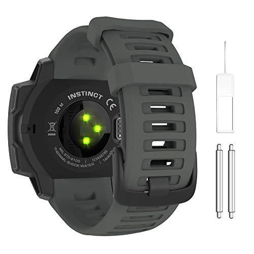 MOKO 시계 밴드와 호환 가민의 본능 스포츠 GPS 똑똑한 시계 부드러운 실리콘 조절체 스트랩 맞 GARMIN 본능 | 본능을 조수 | 본능술 | 본능 태양 GRAPHIT 회색