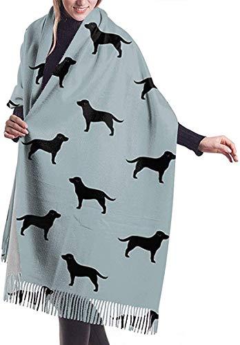 Irener Wickeldecke Schal, Black Labrador Retriever Silhouette Women Soft Cashmere Scarf Large Pashminas Shawl Blanket 77