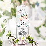 Wandtattoo Loft Taufkerze Junge oder Mädchen Schmetterling rosa weiße Kerze zur Taufe, Geburt Kommunion weiß 25 x 7 cm mit Name, Datum, ggf. Taufspruch/Taufkerze 25 x 7 cm (abgebildeter Taufspruch)
