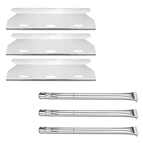 Uniflasy Replacement Parts for Charmglow Home Depot 3 Burner 720-0230, 720-0036-HD-05, Sterling Forge 720-0016 Gas Grills, Stainless Steel Grill Burner Tube, Heat Plates Tent Shield, Burner Cover