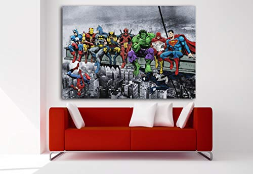 Cuadro Lienzo Superhéroes Marvel Avengers Desayuno Manhattan - Lienzo de Tela Bastidor de Madera de 3 cm - Fabricado en España - Impresión en Alta resolución – Varias Medidas (100, 69)