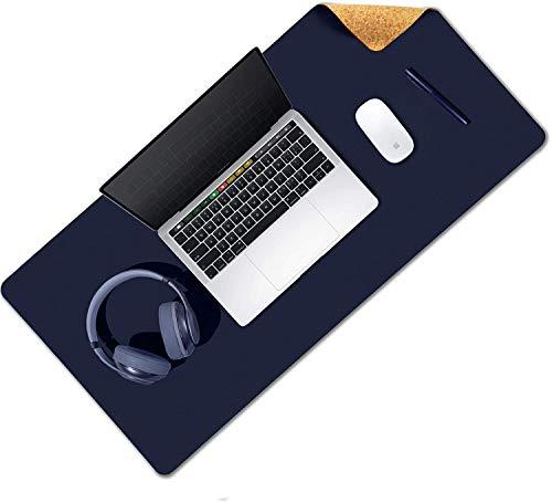 YHYGOO Alfombrilla de Ratón Grande, Gaming Mouse Pad, 80 x 40cm Estera del Escritorio de Oficina Antideslizante e Impermeable, Doble Cara de Cuero PU e Corcho Ecológico (Azul)