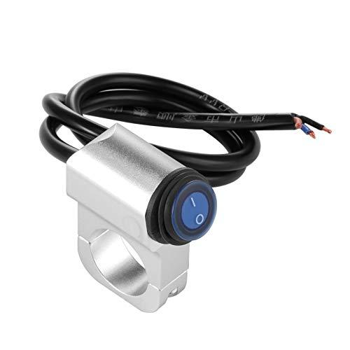 ZHANGWW ZWF Store Indicador de botón del Interruptor de la luz del Manillar de la Motocicleta Impermeable con la aleación de Aluminio de 12V 16A / 9.8'25 mm de Aluminio en el Interruptor Off