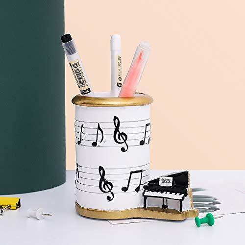 Piano Nota Lápiz Pot Creativo Titular de la Pluma de la Copa Organizador de escritorio Soporte de cepillo Contenedor de notas de música Soporte de pluma Piano Line Display
