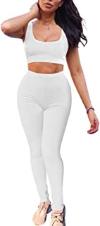 GOBLES Women's 2 Piece Outfits Tank Crop Top Skinny Long Pants Sets Tracksuits