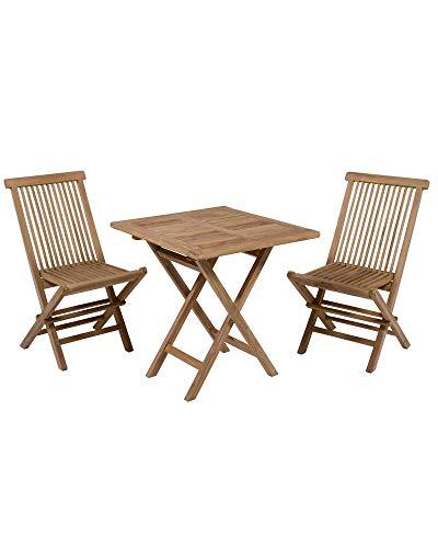 Dabudae Mesa Cuadrada con 2 sillas de Teca para terraza y jardín