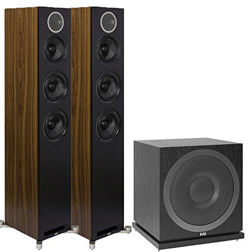 %9 OFF! ELAC Debut Reference Floorstanding Speakers, 2.1 Channel Home Theater System Bundle with DFR...