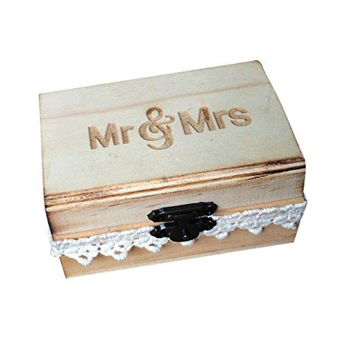 Sharplace Boîte à Bijoux Porte Bague Alliance en Bois Conffret Présentoir pour Fête Mariage - Mr & Mrs Dentelle, 10 x 6 x 5 cm