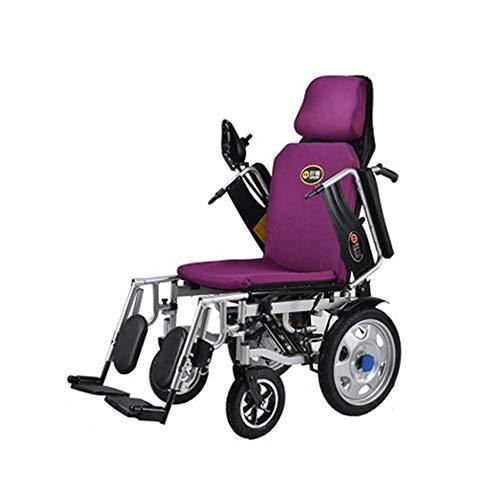 Dapang Faltbare elektrische Rollstuhl Falten mit Flip-Back Schreibtisch Arme und Heben Bein Rests, am besten bewertet Exklusive tragbare motorisierte Kraft Rollstühle, Dual Motor,Purple