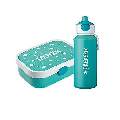 4you Design Set ✶Brotdose & Trinkflasche Punkte, Sterne oder Bambi + Name✶ 6 Farben ✶Mepal Campus + Bento Box & Gabel ✶Schule ✶Kind (Sterne Türkis)