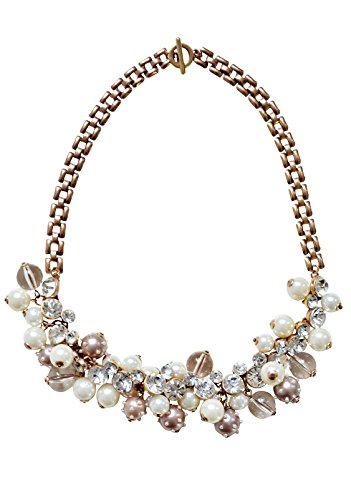 Happiness Boutique Damen Statement Kette mit Perlen Bronze | Modeschmuck Halskette in Goldfarbe nickelfrei