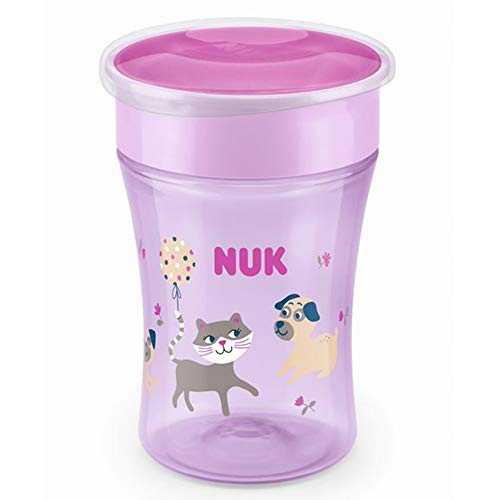 NUK Magic Cup Trinklernbecher, 360° Trinkrand, auslaufsicher abdichtende Silikonscheibe, 8+ Monate, BPA-frei, koala (rosa), 230 ml