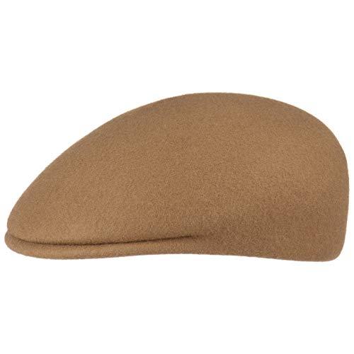 Lipodo Flatcap Filz Herren - Schiebermütze Made in Italy - Schirmmütze aus Wollfilz - Mütze mit 3 cm Schirmlänge - Flat Cap Herbst/Winter - Herrenmütze Camel L (58-59 cm)