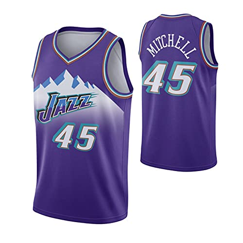 CFVB JăżZ MITĉHěLḷ 45# Jersey Playefs de Baloncesto Tops Resistentes Chaleco Ventilador sin Mangas Camiseta Purple-L