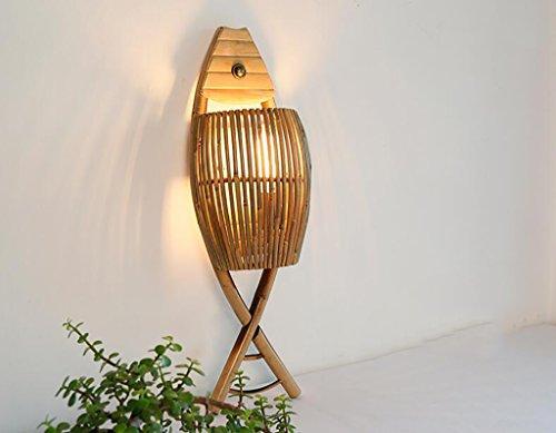 Appliques Applique Simple Bambou créatif Lampe café Bar Salon de thé Salon Restaurant lumières Bambou Lampe Poisson en Forme de Lampe Murale Lèche-Murs