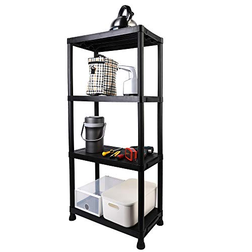 "Mu 4-Tier Freestanding Plastic Storage Shelves Rack, Medium-Duty Bookcase, Multipurpose Display Rack, No Tools Required, Easy to Assemble, 24""L X 12""W X 52""H, Black"