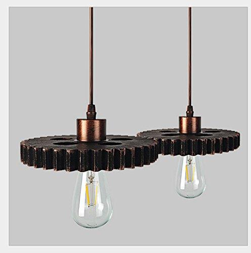 Lustre En Fer Forgé Loft Lampe Restaurant Bar Industriel Gear Forme Décoration Lustre 2 Source De Lumière (Sans Ampoule) Fil De Suspension Réglable