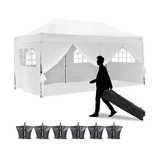 Leisurelife 100% Waterproof Pop-up Canopy Tent 10x20ft with 6 Sidewalls, Folding Commercial Gazebo Party Tent, PVC, White, Sand Bags