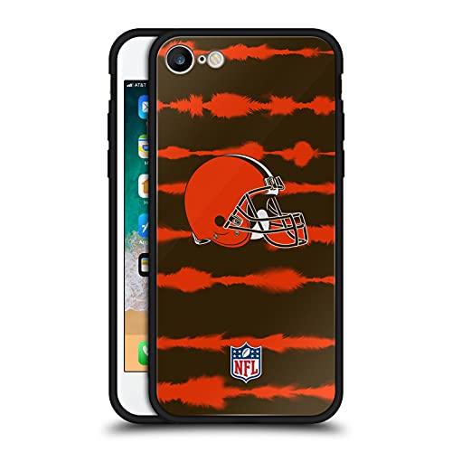 Head Case Designs Licenza Ufficiale NFL Stampa a Strisce Acquerello Cleveland Brown Art Cover Nera Ibrida in Vetro per Parte Posteriore Compatibile con Apple iPhone 7 / iPhone 8 / iPhone SE 2020