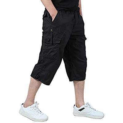 EKLENTSON Capri Pants for Men Cargo Below Knee Shorts Loose Fit Multi-Pockets Hiking Shorts Black