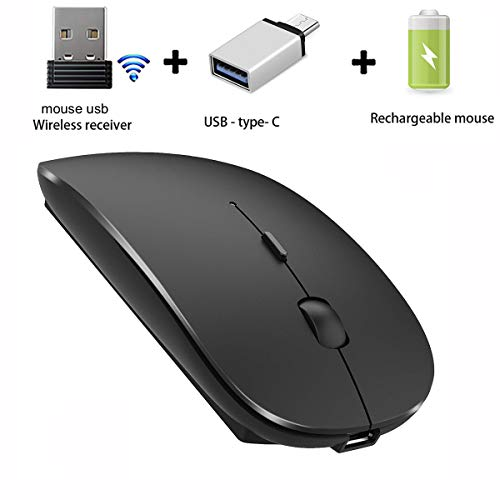 Wireless Mouse for Laptop Mac Desktop Computer Wireless Mouse for MacBook pro MacBook Air Laptop Windows iMac (Black)