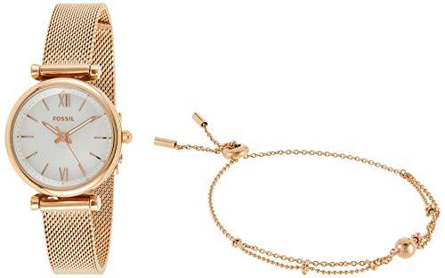 Fossil Carlie Mini - Reloj Analógico para Mujer, de Cuarzo con Correa en Acero Inoxidable, Oro Rosa/Blanco