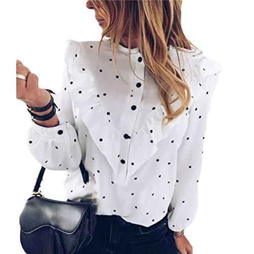 F-pump 2020 Otoño de la Mujer de la Moda Elegante Blusa Femenina de Volantes de Lunares O-Cuello de Manga Larga Señora Camisa de Verano Casual Blusas
