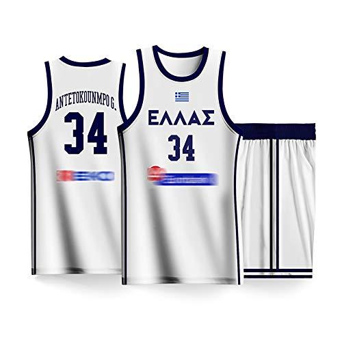 Alphabet Bruder Basketball Uniform Anzug, 2019 Griechenland Herren Basketball Team World Cup Trikot Basketball Weste + Shorts, schnell trocknend, atmungsaktiv-White2-3XL