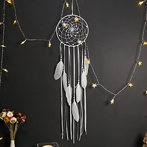 Adornos de colgantes de la pared Red de sueños con plumas, tapiz tejido de la pared bohemia decoración para el hogar para la sala de niños de la sala de niños, regalos de artesanía para niñas