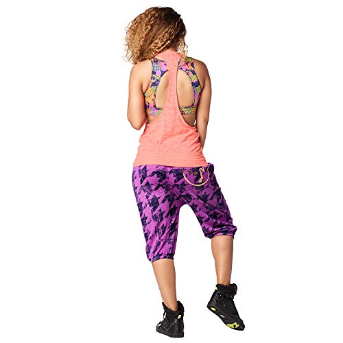 Zumba Aktiv Burnout Dance Workout Kleidung Damen Fitness-Tanktop mit Grafikdruck, Coral Craze 1, XS