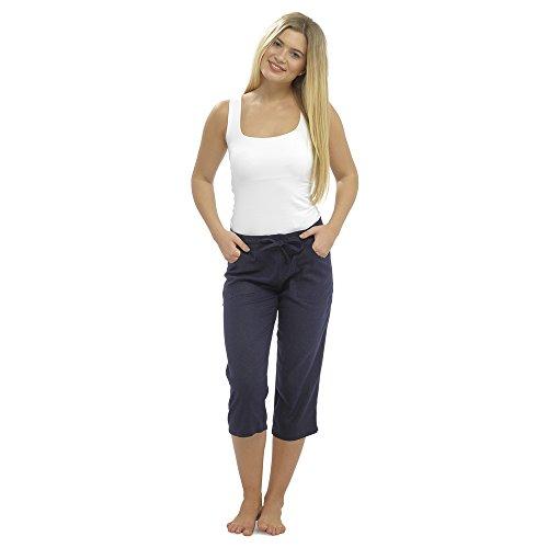 CityComfort Pantaloni Casual Donna in Lino Elegante con Elastico in Vita Pantalone Estivo con Tasche per Vacanze Lavoro (52, Blu Marino ritagliato 3/4)