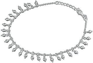 Sterling Silver Anklet 20-23cm bead tassels